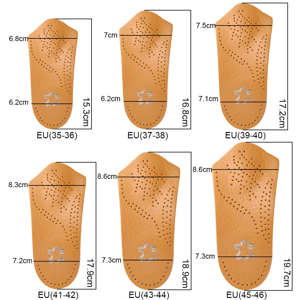 de1c4f6211 ... 3/4 Length Leather Orthotic Insoles for Flatfoot Heel Arch Support Pads  Half Orthopedic Shoe