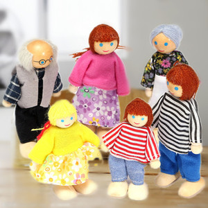 Happy Dollhouse Family Dolls Small Wooden Toy Set Figures Dressed Characters Children Kids Playing Doll Gift Kids Pretend Toys