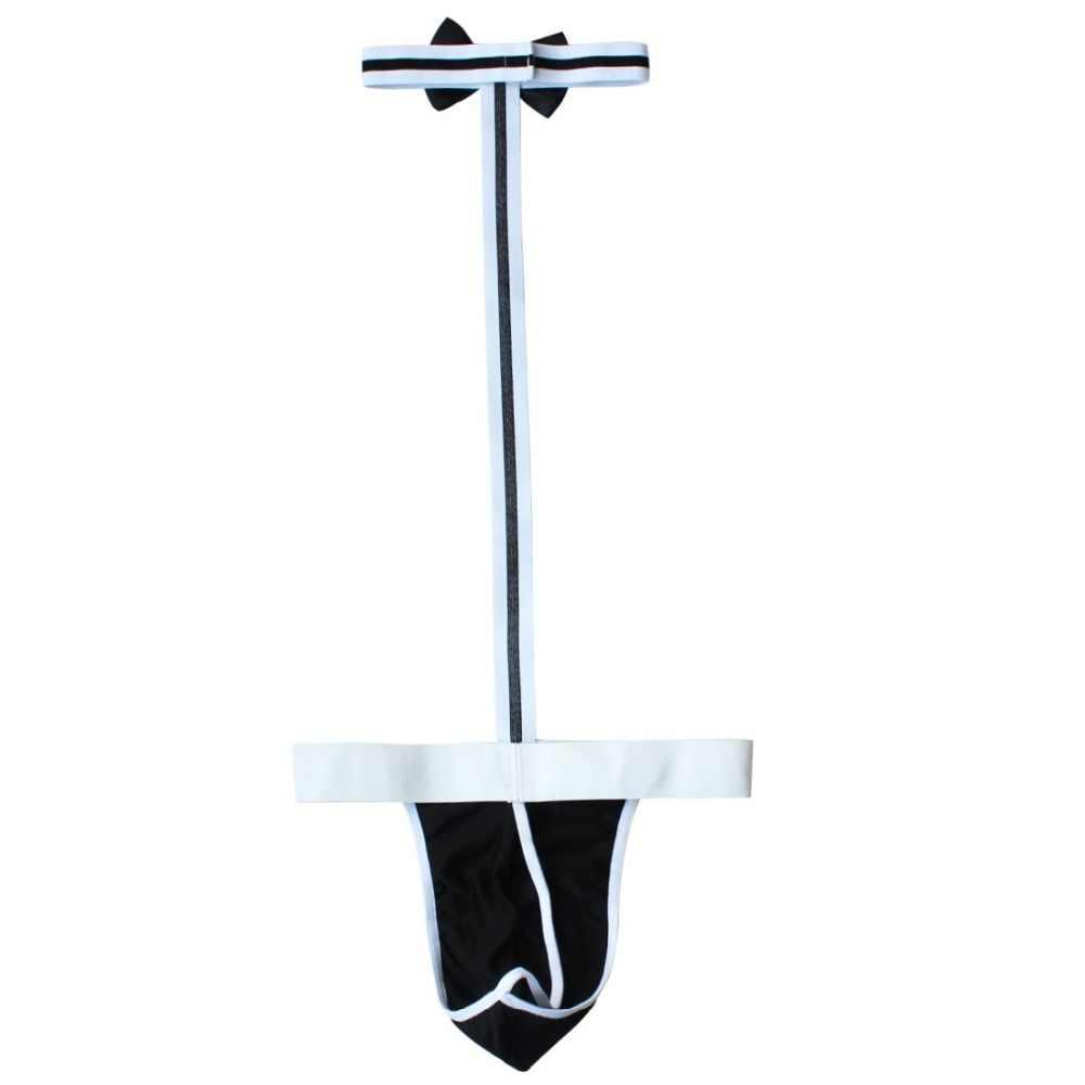 2018 TiaoBug 新ブラックコットン大人メンズセクシーなランジェリー襟ボラット Mankini コスチューム U 凸デザイン水着 Tバック下着