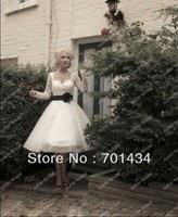 Tea Length Tulle Skirt With Beaded Open Necked Bodice Long Sleeves Wedding Dress 2014