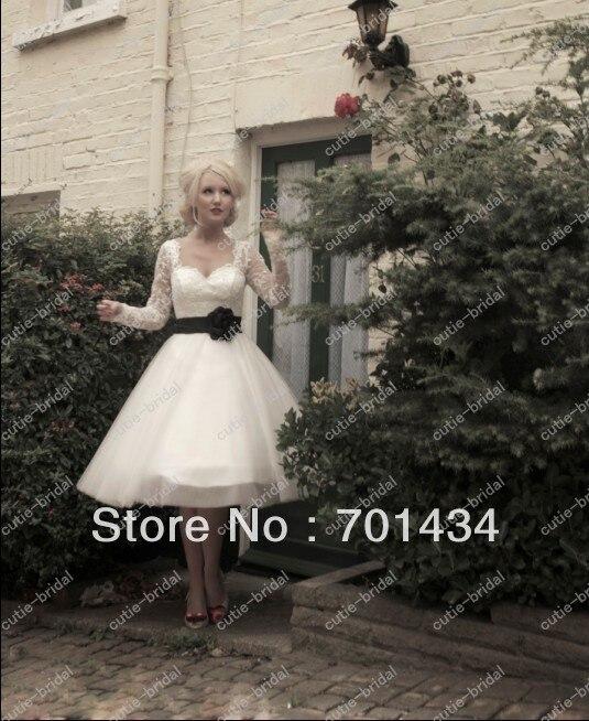 Ball tulle skirt long sleeves lace bodice short wedding for Tea length wedding dress tulle skirt