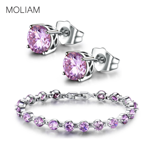 MOLIAM Women Jewelry Set Silver Color Crystal Cubic Zirconia Earrings+Bracelets Set for Ladies Gift MLE029+MLL105