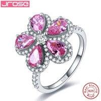 Jrose Rosa caliente CZ compromiso de boda anillo puro sólido 100% 925 plata esterlina en forma de pera corte flor joyería