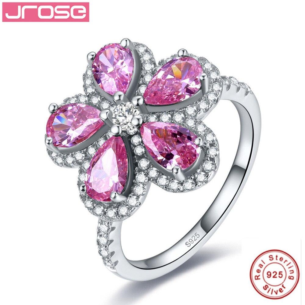 Jrose rose vif CZ bague de fiançailles de mariage pur solide 100% 925 standard en argent sterling en forme de poire coupe fleur bijoux