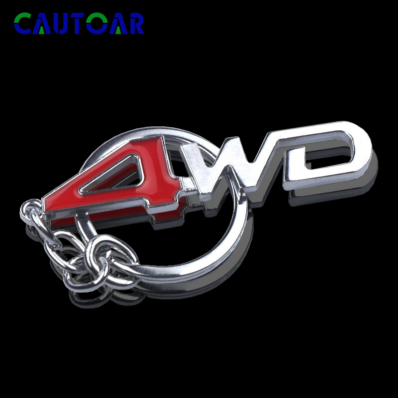 3D Car Styling Chrome Metal Keychain 4WD Emblem Badge Logo Key Chains Rings for Toyota Impreza Honda 4X4 Off Road SUV image