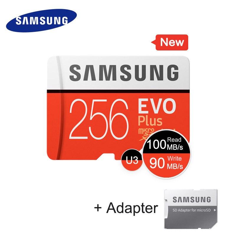 SAMSUNG Micro SD carte Mémoire Carte 256 GB EVO + EVO Plus Class10 TF Carte C10 100 MO/S SDXC UHS-1 périphérique de stockage Téléphone Cartes 2017 Nouveau