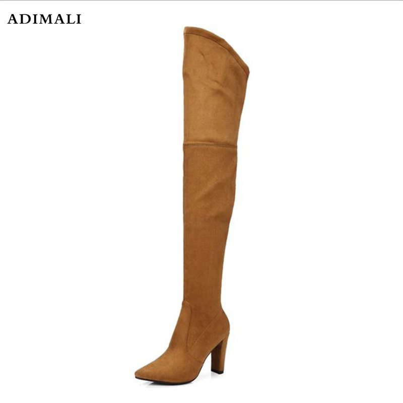 New Women boot fashion Suede Women Over The Knee Boots Lace Up Sexy High Heels Shoes Woman Slim Thigh High Boots Botas 34-43 mudibear women fux suede thigh high boots fashion over the knee boot stretch flock sexy overknee high heels woman shoes red