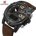 NAVIFORCE Nuevo Lujo Marca Hombre LED Digital Relojes de Los Hombres de Cuero de Cuarzo Reloj de Los Hombres Militar Deportes Reloj de Pulsera Relogio masculino