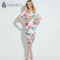Vintacy 2017 Women Summer White Pencil Party Dresses Floral Vacation Beach Dresses Backless Casual Women Spring