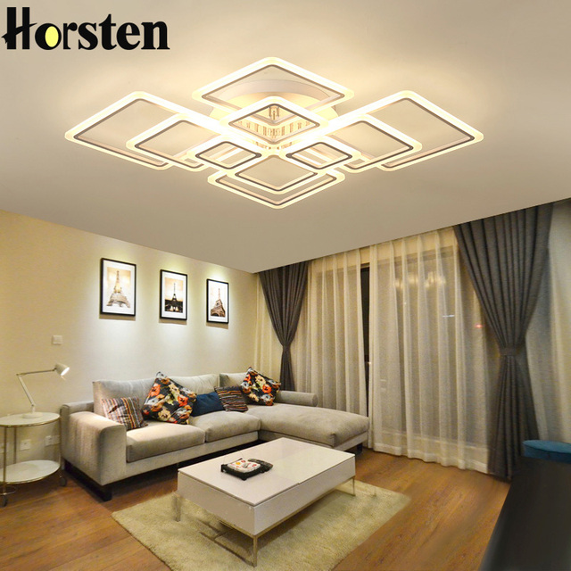 Modern Creative Acrylic LED Ceiling Lights Lamp Overlapping Frames Luxury Ceiling  Lamps For Living Room Dining