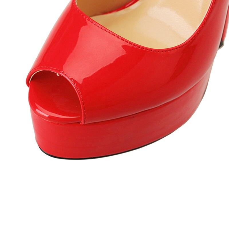 0119902fe9fbf4 Toe D'été De Sandales Chaussures Parti Rouge 2019 Sexy Haute Talon Grande  Plate Femmes Peep ...