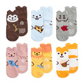 Spring&Autumn 6Pair/Lot Children Baby Socks for Girls Boys Cartoon Little Ear AntiSlip Kids Socks 0-3Years SAS-9290