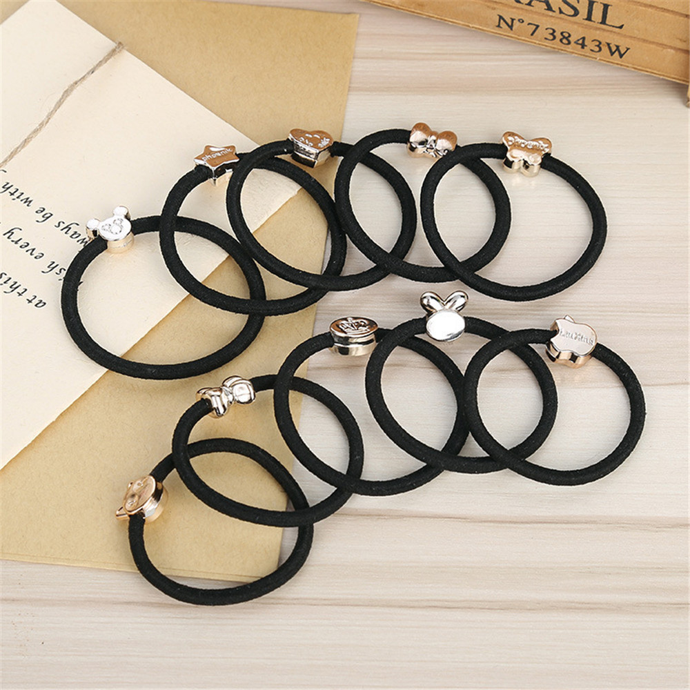 3 PCS Ponytail Holder Rubber Band Gum Simple Black Headband Flower Heart Bow Hair Accessories for Women Girl Elastic Hair Bands