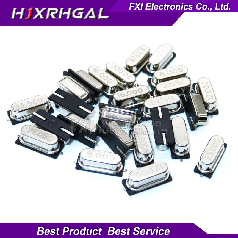 10PCS 4Mhz 6Mhz 8Mhz 12Mhz 16Mhz 20Mhz 24Mhz 4.000mhz 8.000mhz SMD Quartz Crystal Resonator Passive Oscillator HC49S
