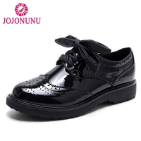 JOJONUNU Women Genuine Leather High Heel Shoes Women Lace Up Block Thick Heel Pumps British Style Women Footwears Size 34 41