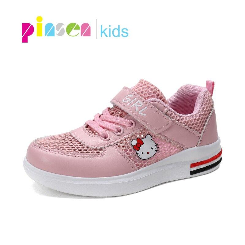 2019 Neue Hallo Kity Kinder Schuhe Für Mädchen Hohe Qualität Atmungsaktive Kinder Turnschuhe Komfortable Mesh Mädchen Sport Schuhe Kinder Flache Moderne Techniken