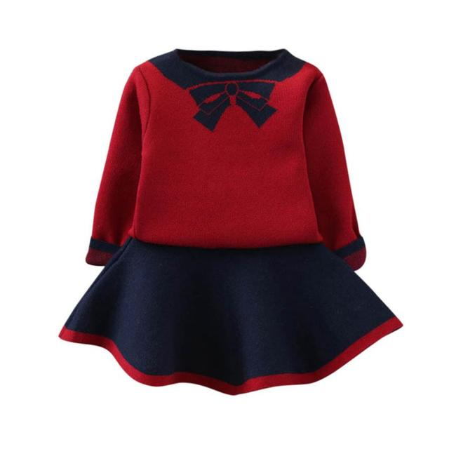 Girls Clothes Children Suits Toddler Kids Baby Girls Outfits Clothes Bowknot Knitted Sweater Tops+Skirt Set Hot Sale New 2019