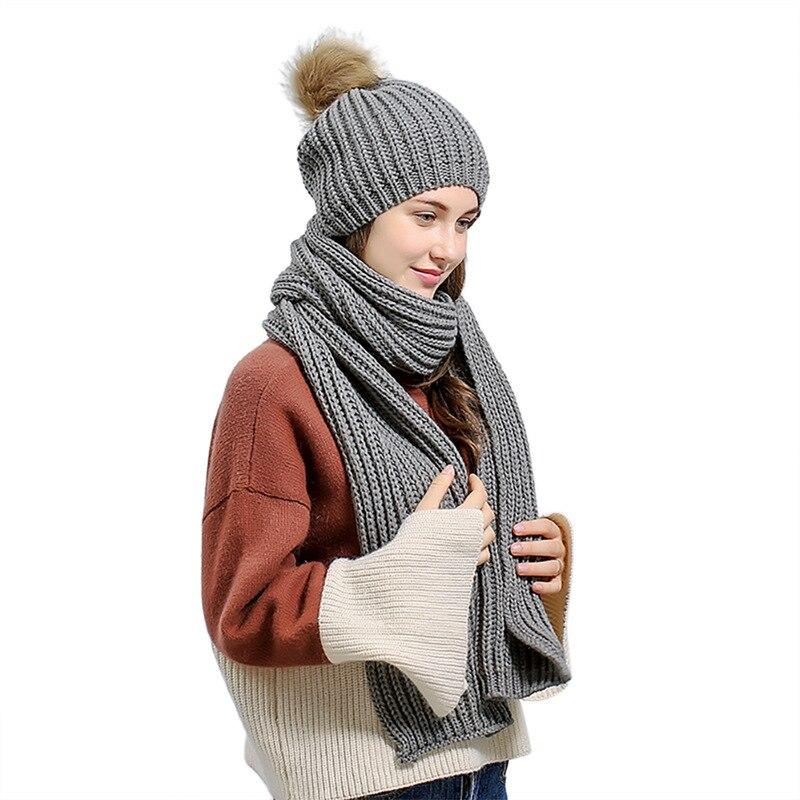 2 Pcs/Set Women Fashion Winter Warm Knitted Hat Scarf Set Skullcaps Female Cap Hat Scarf + Warm Hat Female