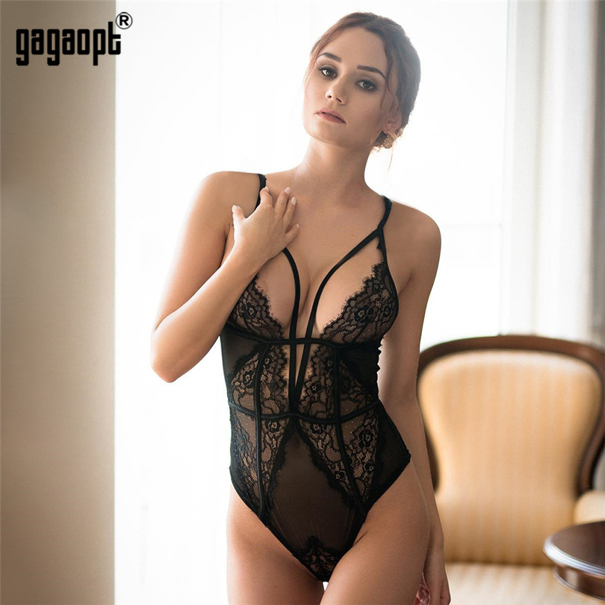 Gagaopt Lace Bodysuit Women Bandage Mesh Bodysuit Fashion Black/White Sexy Bodysuit Jumpsuit Overalls Sleepwear