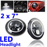 7 INCH Round LED Headlights Waterproof Headlamp With Halo Ring Hi Lo Beam For Jeep Wrangler