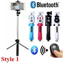 Wireless Bluetooth Selfie Stick For Iphone/Android/Huawei Foldable Handheld Monopod Shutter Remote Extendable Mini Tripod(China)