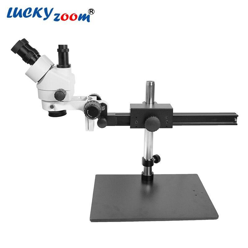 Luckyzoom di Marca Professionale 7X-45X Guida Trinoculare Zoom Stereo Microscopio 25 cm Distanza di Lavoro di Ispezione PCB Microscopio