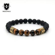 Luxury Gold-color Cubic Zirconia Geometric Hexagon Brass Beads Bracelets Men Tiger Eye Stone Bracelet Pulseira Masculina H73