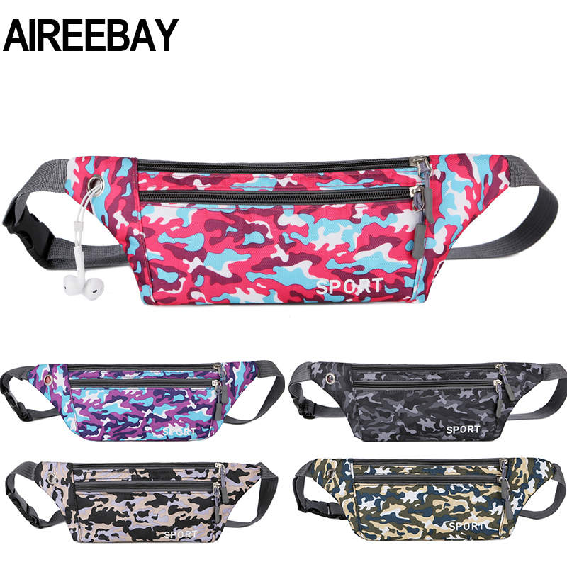 AIREEBAY Men Waist Bag Pack Travel Phone Belt Bag Pouch For Men Women Casual Camouflage Shoulder Bag For Belt Unisex Hip Bag