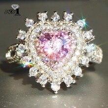 YaYI кольцо с голубым кристаллом 7 CT Розовый циркон серебряного цвета обручальные кольца Свадебные Кольца Сердце Девушки вечерние кольца Подарки 959