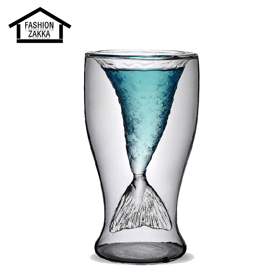 Hot unique mermaid clear handmade glass cup fish tail for Unique glass bottles