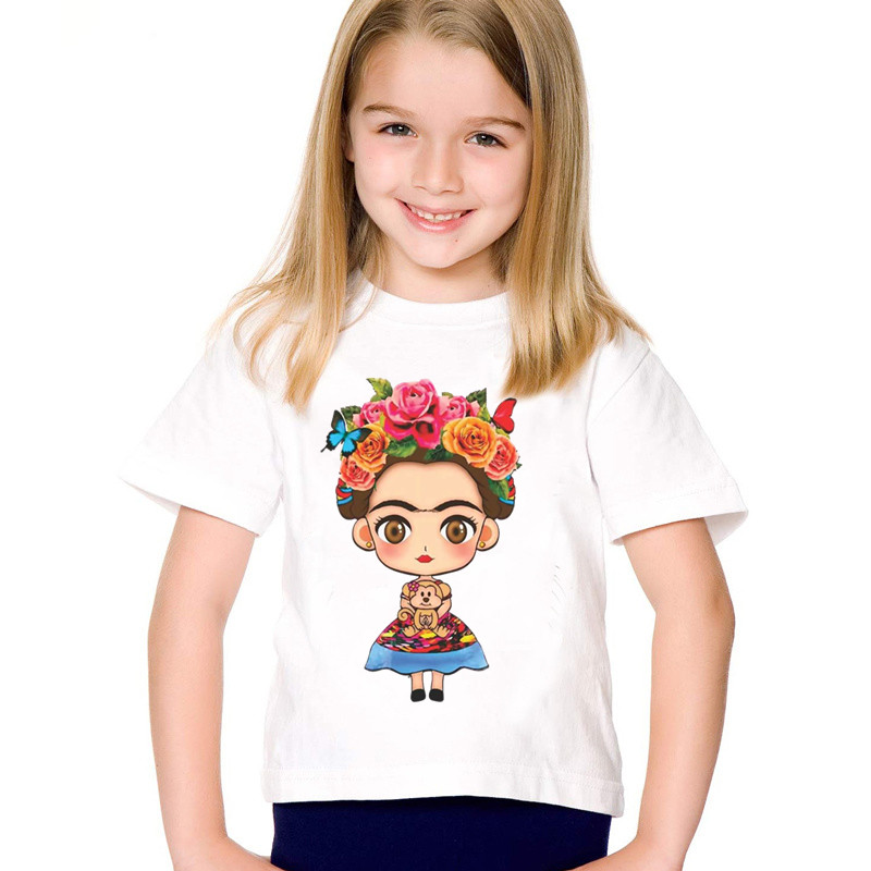 Children Cartoon Print Frida Kahlo Funny T-shirts Kids Cute Summer Short Sleeve Tees Boys/Girls Casual Tops Baby Clothes,HKP2145 children dabbing unicorn cartoon funny t shirts kids summer tops tees girls boys short sleeve t shirt rabbit cat baby clothes