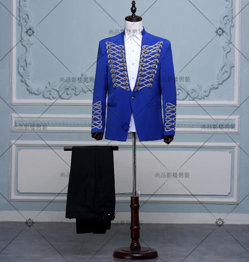 New men's slim court suit jacket formal dress groomsman suit sets chorus clothing rivets suit Host dress VSTINUS