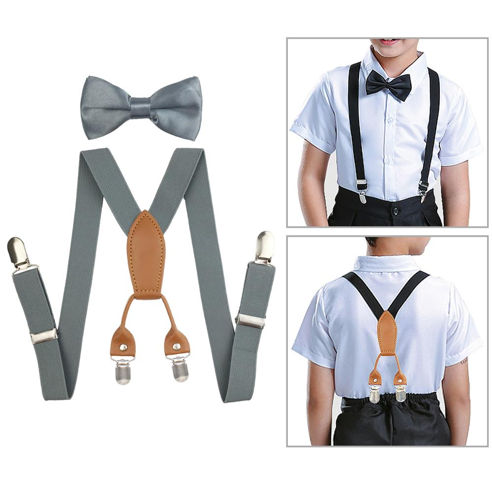 Y-Shaped Braces and Bowtie Set for Kid Boys Girls Leather Adjustable Elastic Suspenders with 4 Clips Children Braces Suspenders Bow Tie