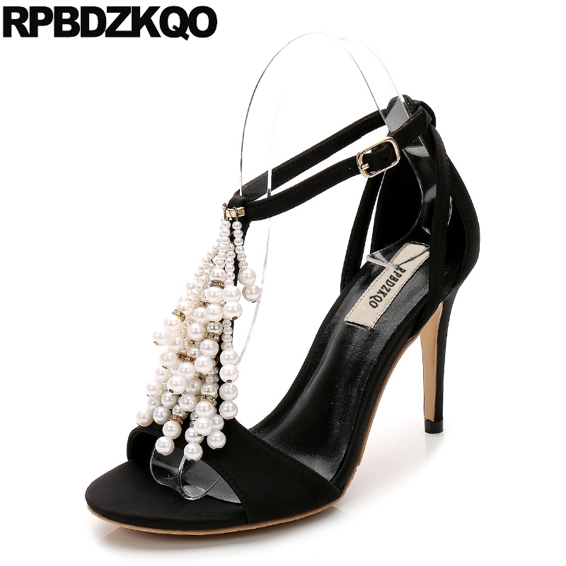 Black Sandals Beaded Wedding Shoes Size 4 34 Pearl Scarpin Bridal High Heels Strap Ankle Open Toe 33 Suede Women Summer China covibesco nude high heels sandals women ankle strap summer dress shoes woman open toe sandals sexy prom wedding shoes large size