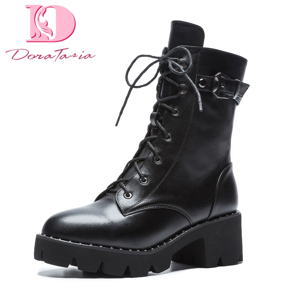 Doratasia 2018 Genuine Leather Large Sizes 34-43 Shoes Woman Zip Up square Heels Cow Leather Ankle Boots Shoes Woman Martin boot doratasia 2018 genuine leather zip up cow leather shoes woman martin boots chunky heels wholesale mid calf boots woman shoes