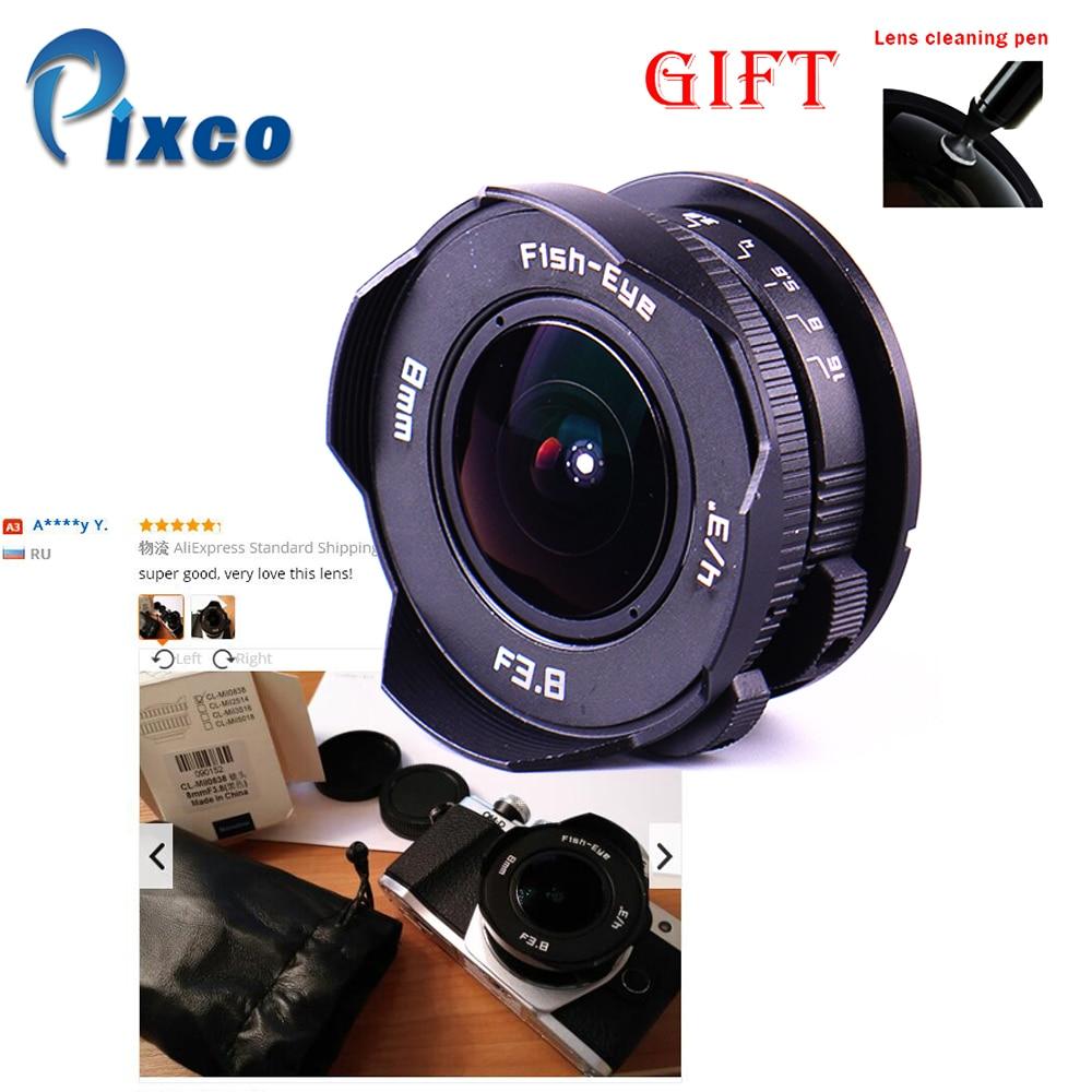 8mm F3.8 + cadeau costume pour Micro quatre tiers monture caméra Fish-eye C monture grand Angle Fisheye lentille focale lentille oeil de poisson