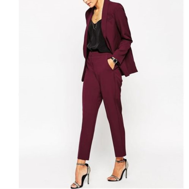 Women Pant Suits Burgundy Women Ladies Formal Custom Made Jacket+Pants Tuxedos New Arrival Suits