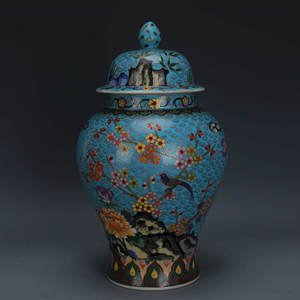 Ginger-Jar Long-Enamel Ceramic Antique Chinese Pure Qing Crane Red-Crowned Birds Handmade