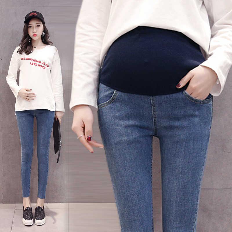5ac601cd4bd23 ... 1009 9/10 Length Thin Stretch Denim Maternity Jeans Summer Korean  Fashion Skinny Pencil Pants ...