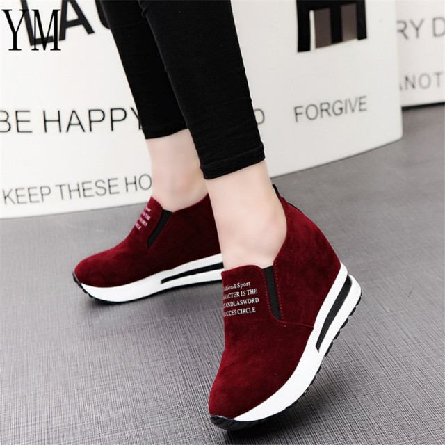 2018 Flock New High Heel Lady Casual black/Red Women Sneakers Leisure Platform Shoes Breathable Height Increasing Shoes