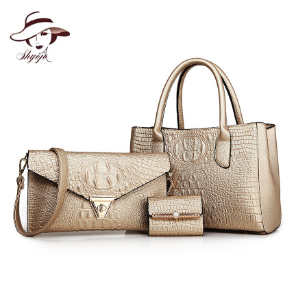 Famous Brand Luxury 2018 Fashion Alligator Women Bags 3 Pieces Set Composite Bag Ladies Leather Handbags Female Crossbody Tote faux leather minimalist practical 3 pieces tote bag set page 3