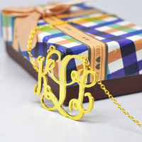2 Monogram Name Necklace Gold 3 Initial Big Statement Necklace Hip Hop Customized Name Jewelry