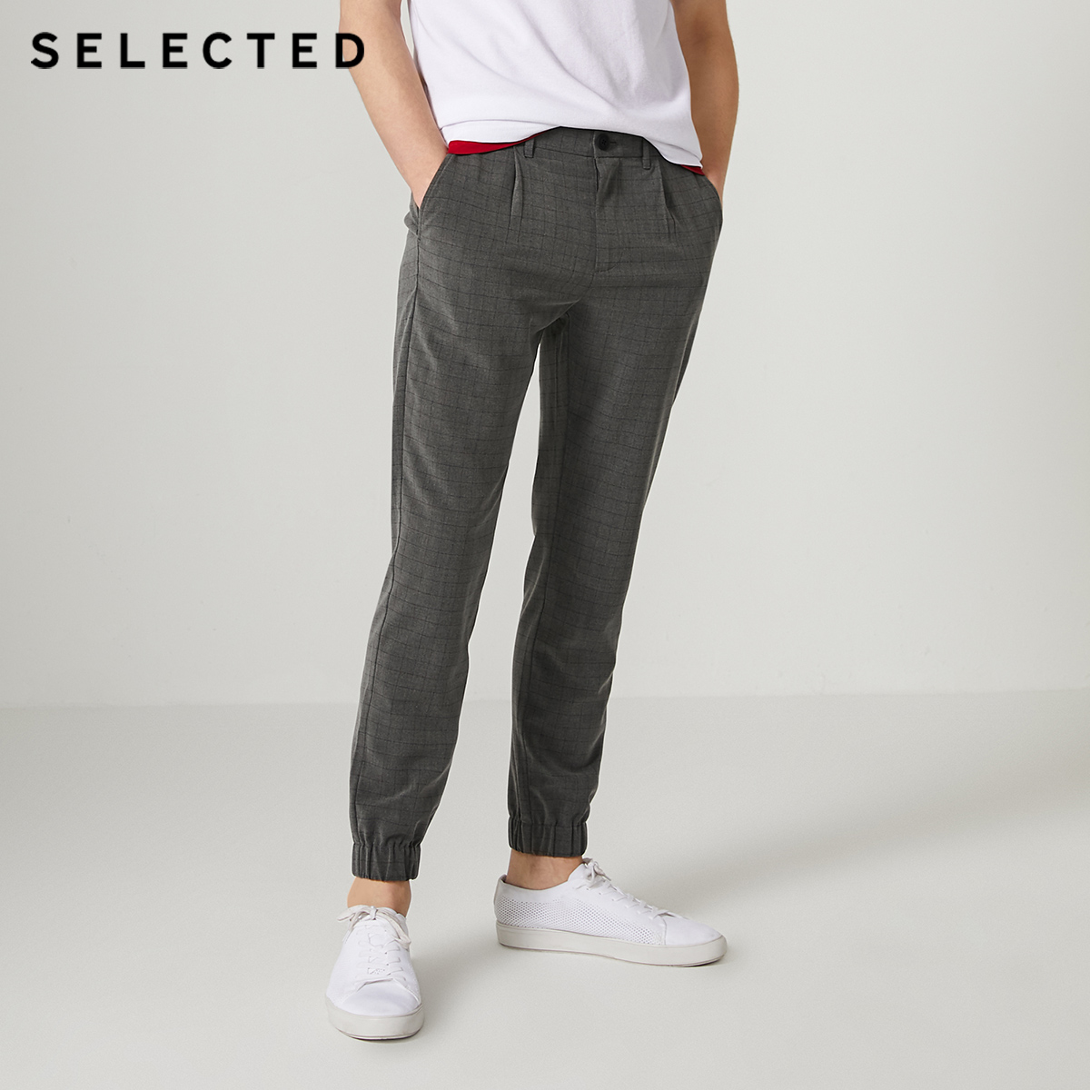 SELECTED Men's Summer Checked Ankle Banded Pants S|419314539