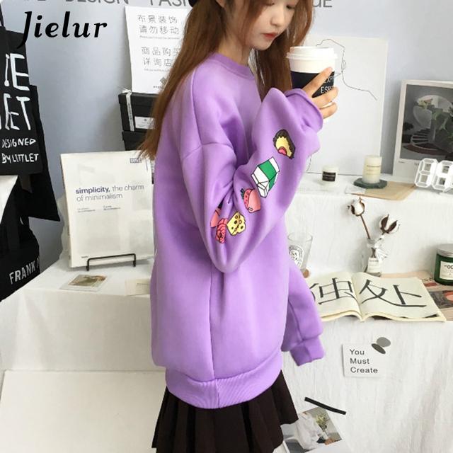 Jielur Sweatshirts Women Kawaii Cartoon Print Hoodies Harajuku Korean Casual Loose Simple O-neck Fleece Female Pullover M-XXL