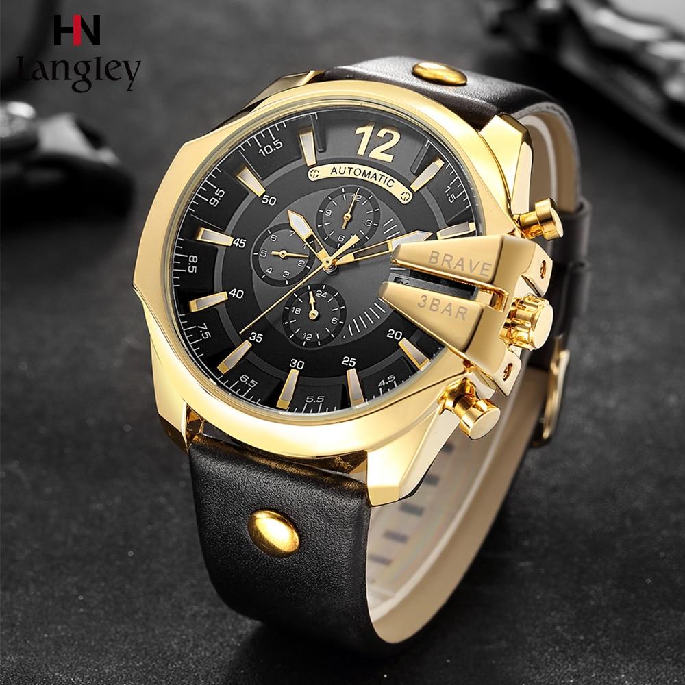 LANGLEY Men Automatic Mechanical Wristwatch Gold Big Dial Chronograph Calendar Sports Casual Watches Clocks Relojes de Hombre #a