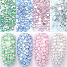 350pcs mix sizes Blue/Green/Pink/White Opal 3D Nail Art Rhinestones Decoration,Crystal AB Color Glass Decorations For Nails