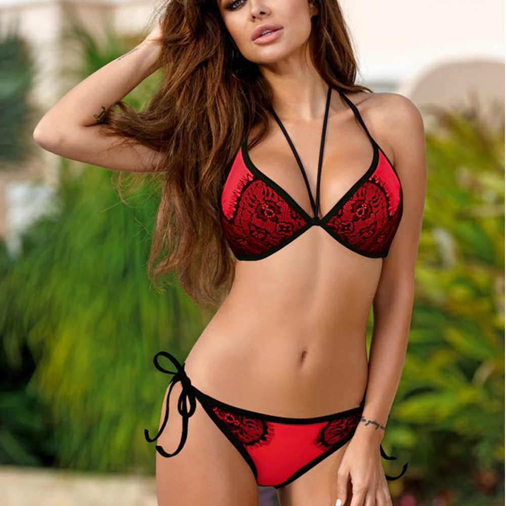 6ac2b0930d5 ... 2019 Sex Bandage Bikinis Women Swimsuit Push Up Swimwear Halter Top  Brazilian Bikini Beach Bathing Suits ...