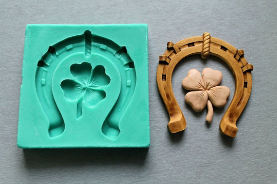 Horseshoe Clover silicone fandont mold Clover Silica gel moulds Clovers Chocolate molds Clovers candy mould silicone molds
