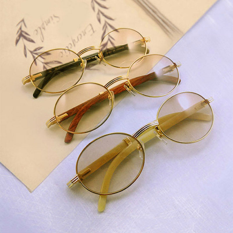2017 Retro Carter Sunglasses Men Cool Round Sun Glasses Brand Designer Glasses Buffalo Horn Glasses Oculos De Sol Shades