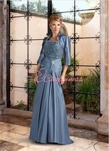 Vestidos appliques taft mutter der braut kleid plus größe mit jacke formale abend-kleid freies verschiffen